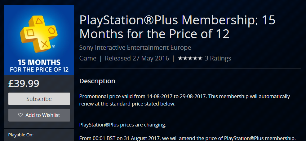 15 months of PlayStation Plus membership for the price of 12.